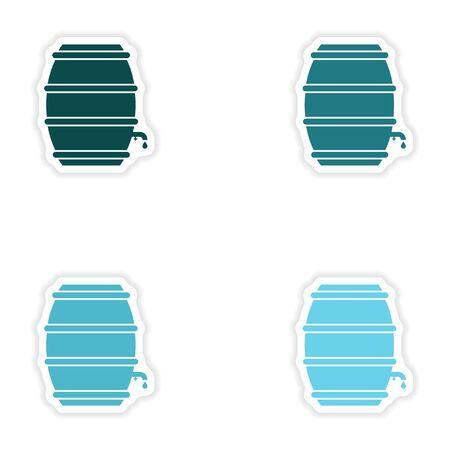 keg: concept stylish paper sticker on white background keg beer