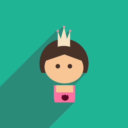 ruffles: flat icon with long shadow  girl princess