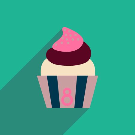eclair: flat icon with long shadow  cream cake Illustration