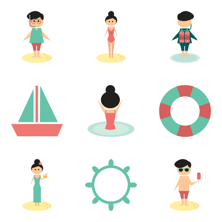 swimwear: Concept of flat icons on white background  people relaxing beach Illustration