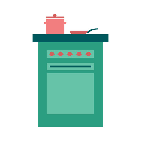 pans: Flat web icon on  white background stove and pans