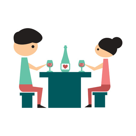 husband and wife: Flat web icon on  white background husband wife dinner