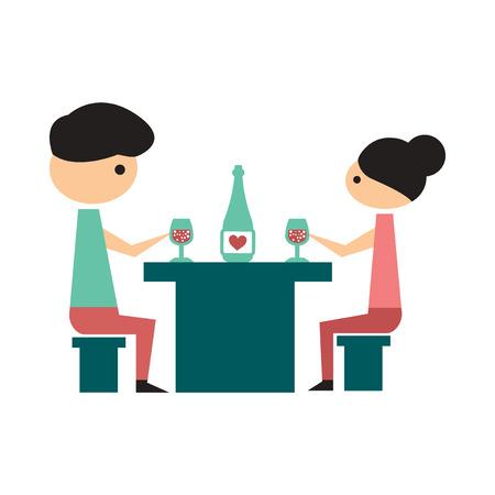 icono de banda plana en el fondo blanco de la cena, marido, esposa Ilustración de vector