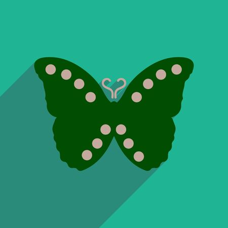 antennae: flat icon with long shadow flying butterflies