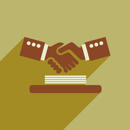 agreement shaking hands: Flat web icon with  long shadow handshake