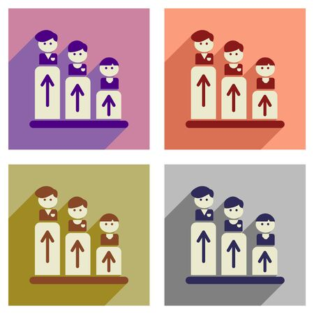 shadow people: Concept of flat icons with long  shadow people schedule Illustration
