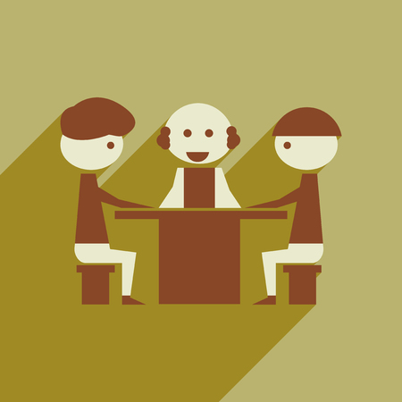negotiations: Flat web icon with long  shadow business negotiations