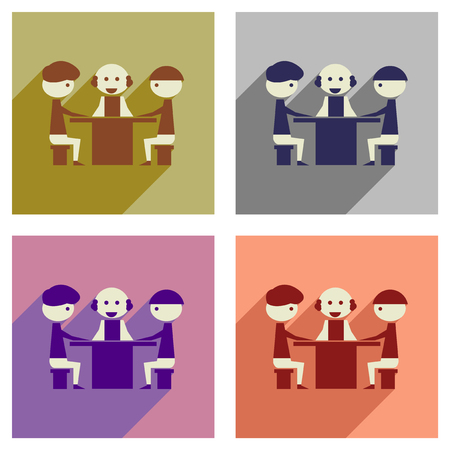 negotiations: Concept of flat icons with  long shadow business negotiations