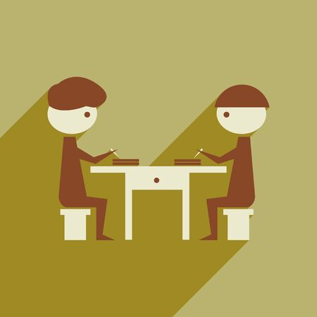 partners: Flat web icon with  long shadow business partners Illustration