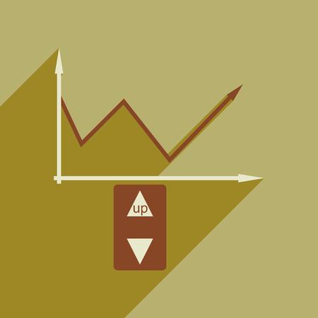 economic: Flat web icon with long  shadow economic graph Illustration