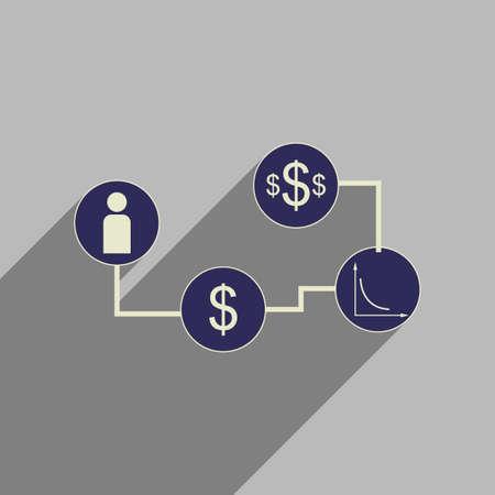 monetary: Flat web icon with long shadow  monetary infographics