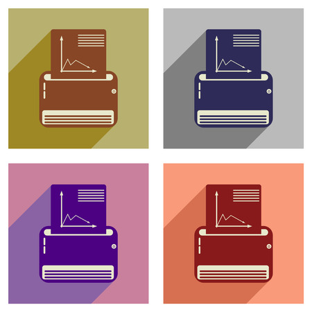 fax machine: Concept of flat icons with  long shadow fax machine