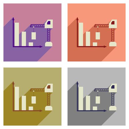 Concepto de iconos planos del programa de construcción con larga sombra Ilustración de vector