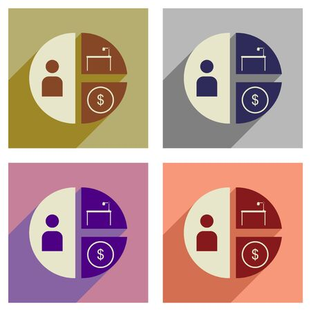 time is money: Concept of flat icons with  long shadow  time money chart Illustration