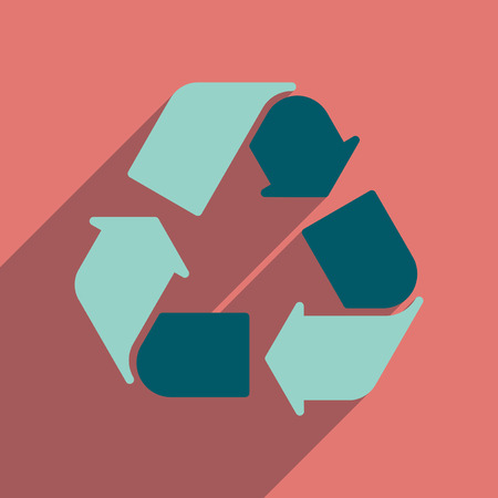 environmentalist label: Flat web icon with long  shadow arrows recycling