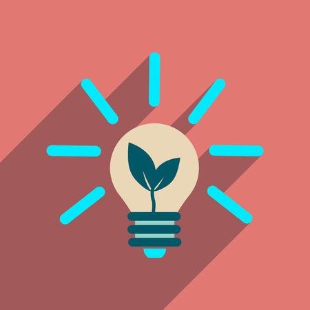 bombillo ahorrador: Flat web icon with long  shadow eco light bulb