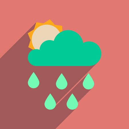 day forecast: Flat web icon with long  shadow sun clouds rain Illustration