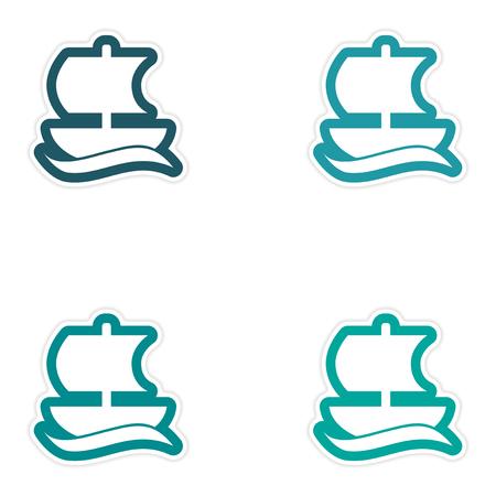 Set of paper stickers on white background Greek ship Illustration