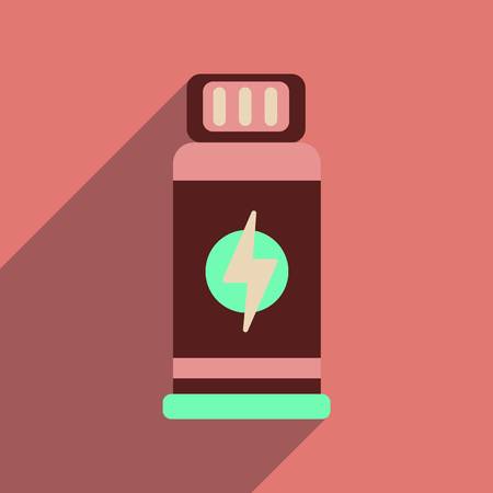 gainer: Flat web icon with long  shadow jar Energy
