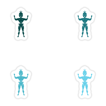 trini: concept stylish paper sticker on white background carnival man