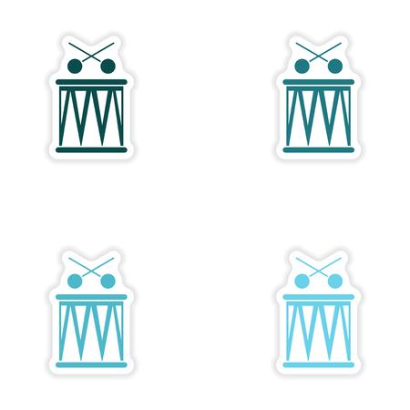 bongos: concept stylish paper sticker on white background Brazilian drums