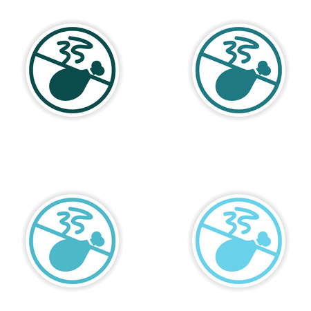 encephalopathy: concept stylish paper sticker on white background meat ban Illustration