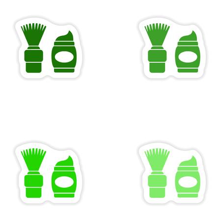 emulsion: concept stylish paper sticker on white background shaving foam