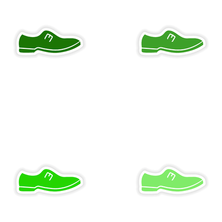 varnished: Set of paper stickers on white background mans shoes