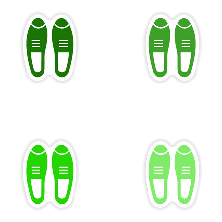 varnished: Set of paper stickers on white background male shoes Illustration