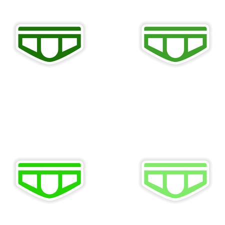 nursing clothes: concept stylish paper sticker on white background mens shorts