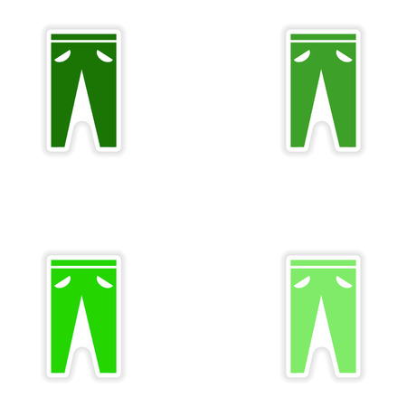 white pants: Set of paper stickers on white background pants