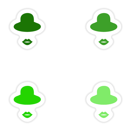 elegantly: Set of paper stickers on white background hat lips Illustration