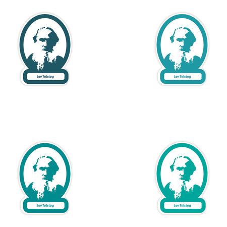 prose: Set of paper stickers on white background Lev Tolstoy Illustration