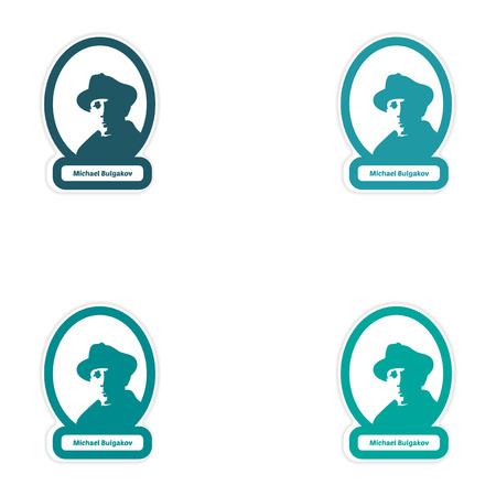 playwright: Set of paper stickers on white background Michael Bulgakov