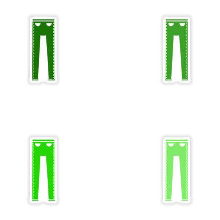 white pants: concept stylish paper sticker on white background pants Illustration