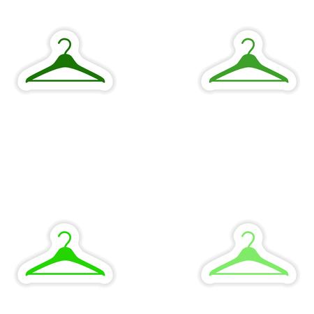 paper hanger: concept stylish paper sticker on white background hanger Illustration