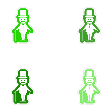 father of the bride: Set of paper stickers on white background father bride