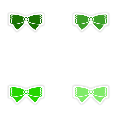 bowtie: Set of paper stickers on white background bow-tie