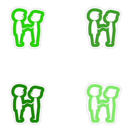 birthday suit: Set of paper stickers on white background groom with friend Illustration
