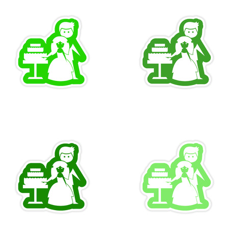 wed beauty: Set of paper stickers on white background Bride Groom Cake