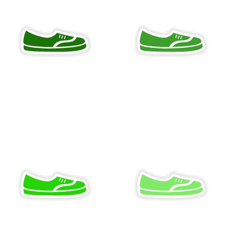 moccasin: concept stylish paper sticker on white background moccasins