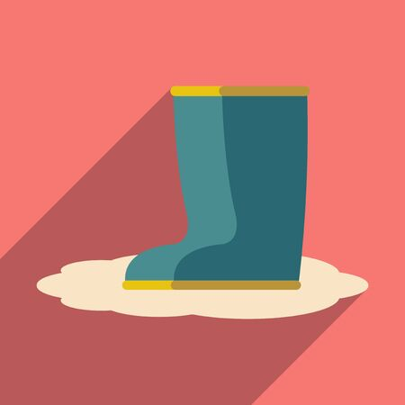 rubber boots: Flat with shadow icon and mobile application rubber boots