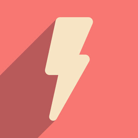 lightning speed: Flat with shadow icon and mobile application lightning