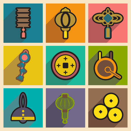 cult tradition: Stylish assembly icons of Japanese attributes