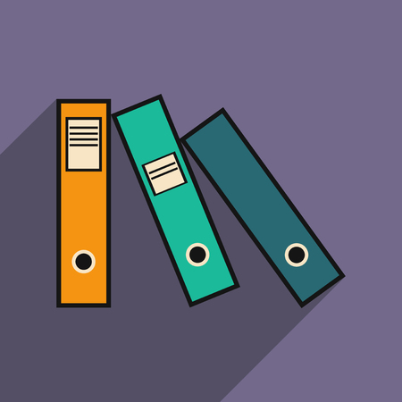 ring binder: Flat with shadow icon folders for documents Illustration