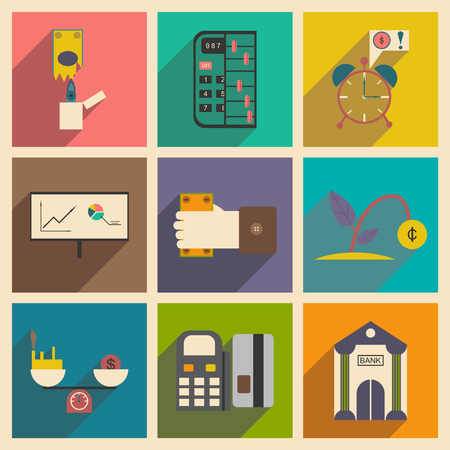 charity and relief work: Modern collection flat icons with shadow economy