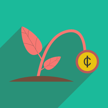 money plant: Modern flat icon with shadow money plant