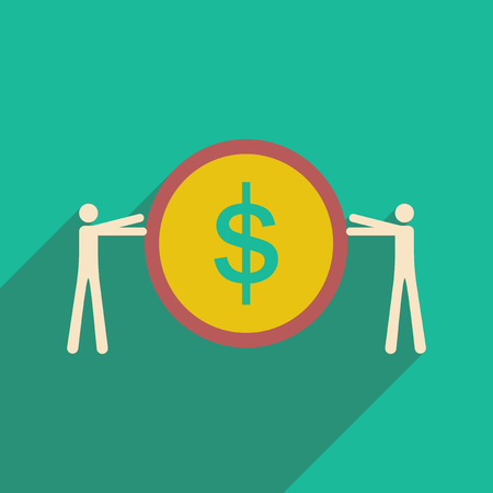 salaries: Modern flat icon with shadow coin and people