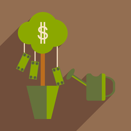 gold cans: Flat design modern vector illustration icon Money Tree and Sprinkle Illustration
