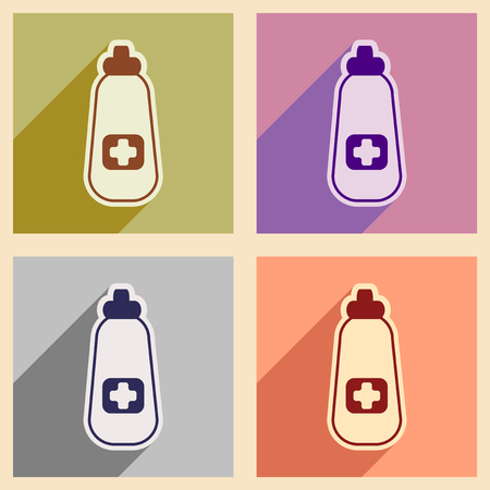 overdose: Icons of  assembly bottle of medicine in flat style
